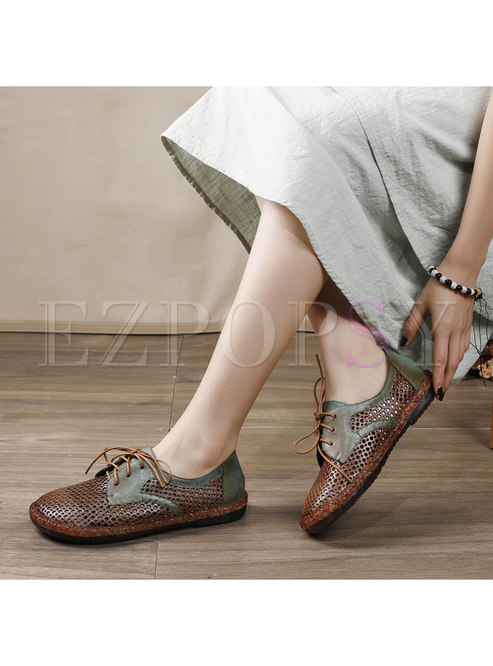 Color Block Lace-up Openwork Genuine Leather Flats