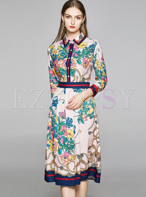 Color Block Print Lapel Ruched Skater Dress