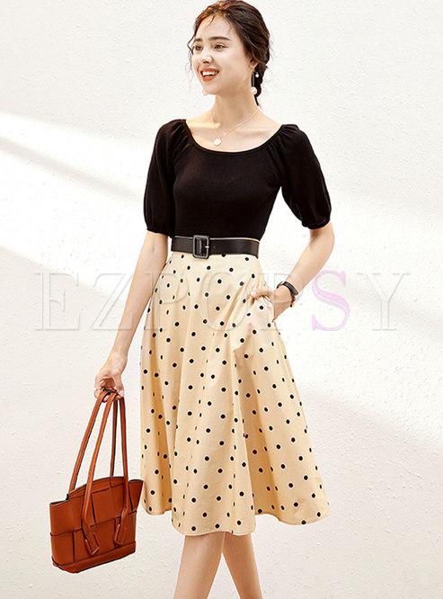 Puff Sleeve Knit Top & Polka Dot A Line Skirt