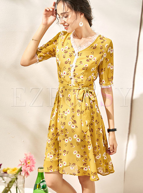 Floral V-neck Patchwork Tied A-line Dress