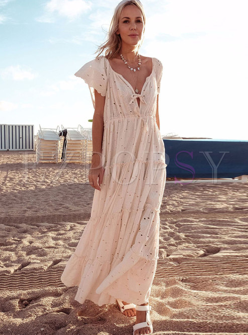 Bohemia Embroidered Openwork Tied Maxi Dress