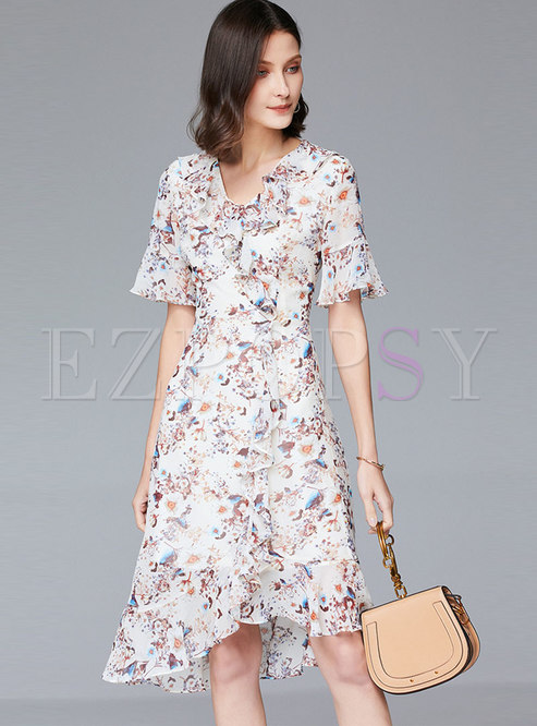 Floral V-neck Asymmetric Ruffle Skater Dress