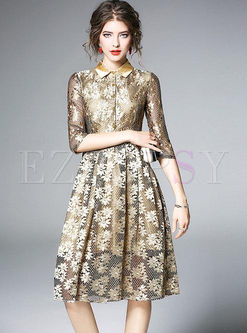 Glitter Lace Print Lapel Skater Dress