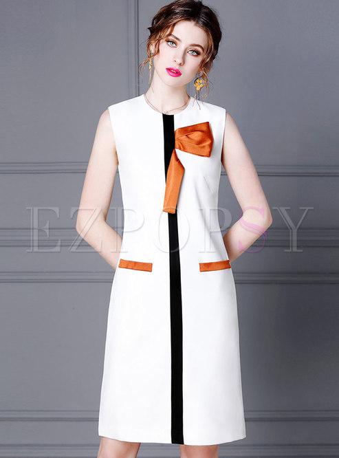 Color Block Sleeveless Bowknot Bodycon Dress