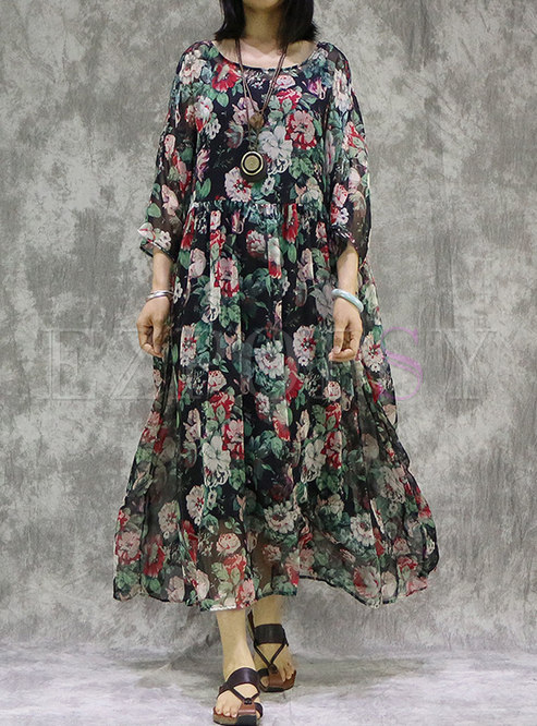Retro Floral Asymmetric Loose Dress With Camis