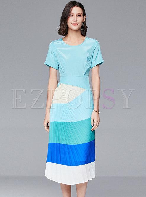 Color Block Slim Pleated Bodycon Dress