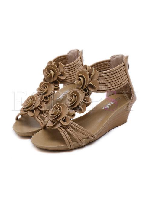 Retro Wedge Flower Beach Sandals