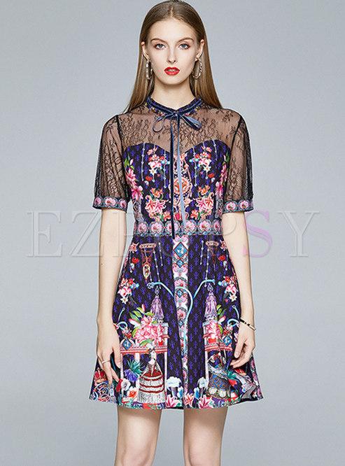Lace Patchwork Bowknot Mini Skater Dress