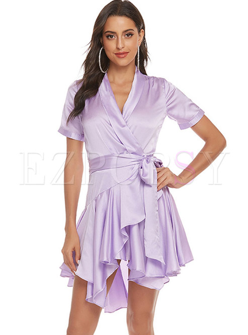V-neck Asymmetric Tied Ruffel Skater Dress