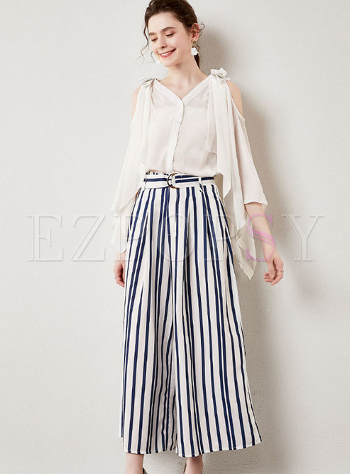 Open Shoulder V-neck Blouse & Striped Palazzo Pants