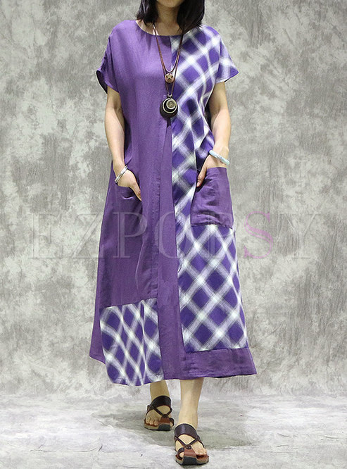 Plaid Patchwork Linen Loose Maxi Dress