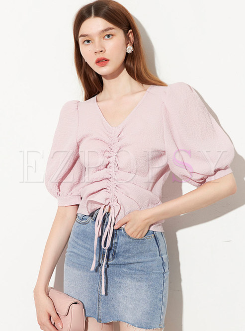 Pink V-neck Drawcord Pullover Crop Blouse