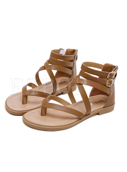 Round Toe Leather Buckle Roman Sandals