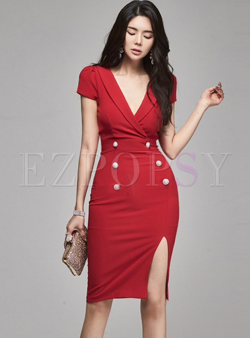 Deep V-neck Short Sleeve Slit Pencil Dress