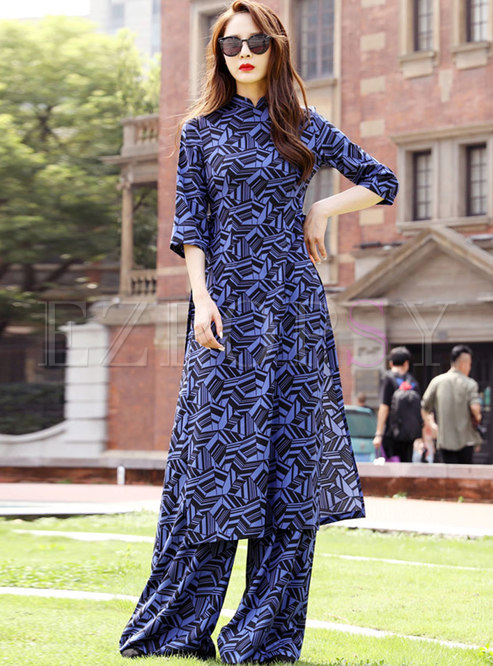 Mandarin Collar Geometric Print Pant Suits