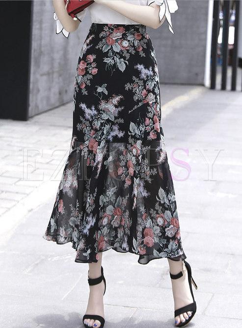 Black Print High Waisted Chiffon Long Skirt