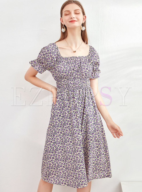 Square Neck Floral High Waisted Cotton Dress