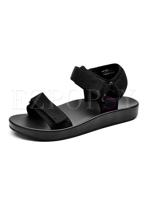 Pure Color Velcro All-matched Flat Sandals