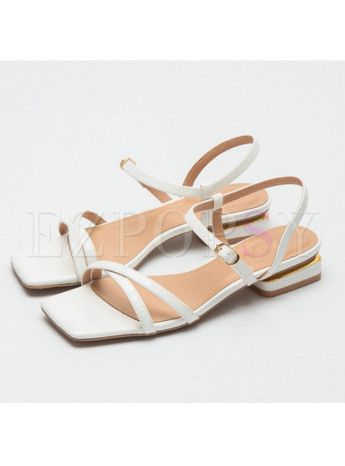 Square Toe Buckle Chunky Heel Sandals