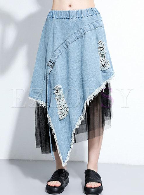 High Waisted Denim Patchwork Mesh Long Skirt