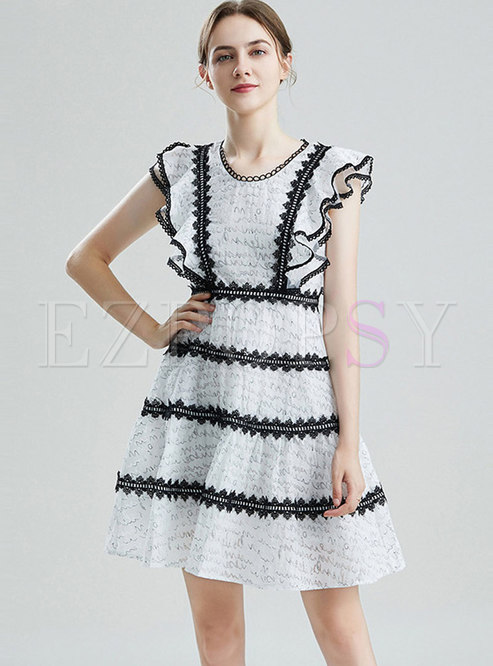 White Crew Neck Lace Patchwork Mini Dress