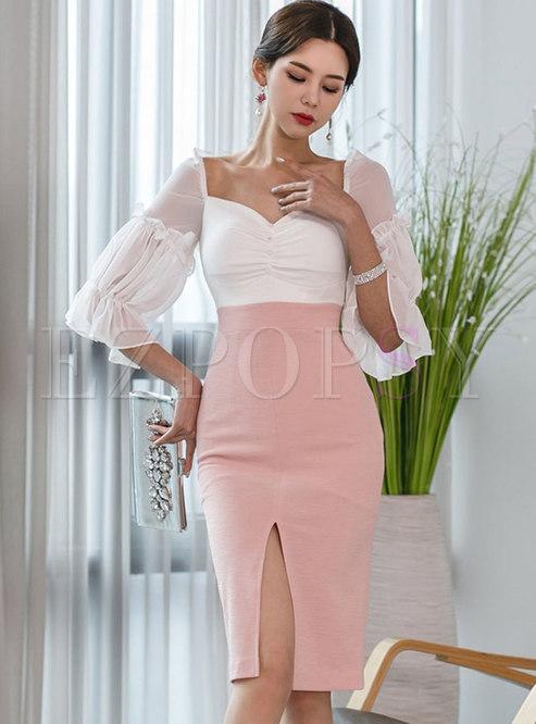 Half Sleeve Color-blocked Slit Bodycon Dress
