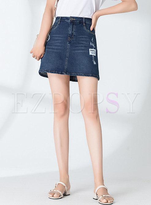 High Waisted Denim Ripped Mini Skirt