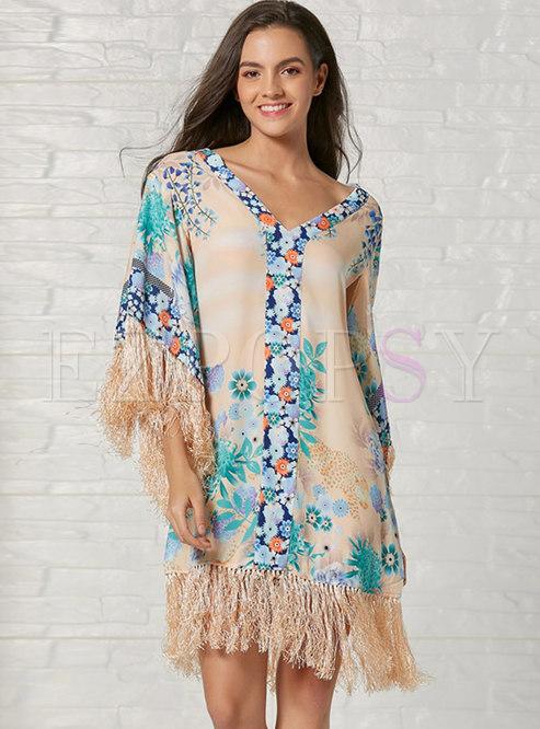 Long Sleeve Print Patchwork Fringed Beach Shift Dress