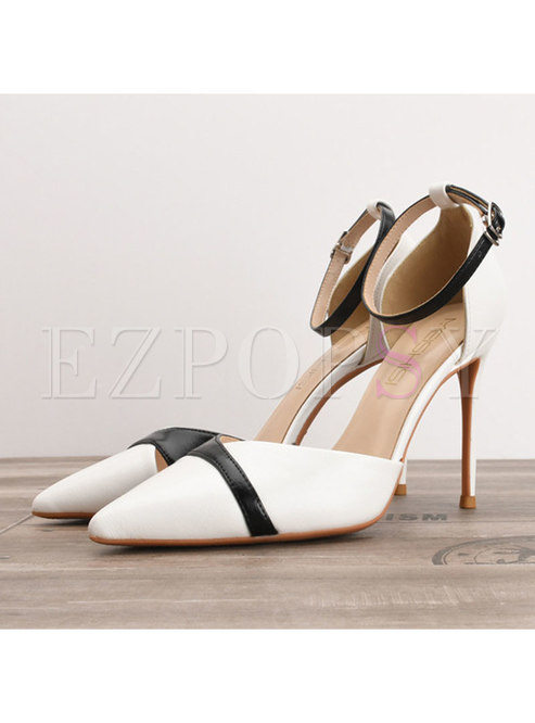 Pointed Toe Buckle Color-blocked Heels