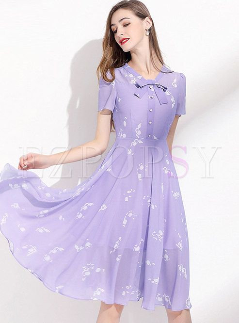 Purple Print Bowknot A Line Chiffon Dress