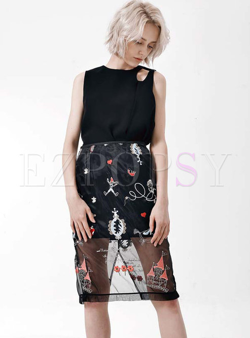 Black Openwork Mesh Embroidered Skirt Suits