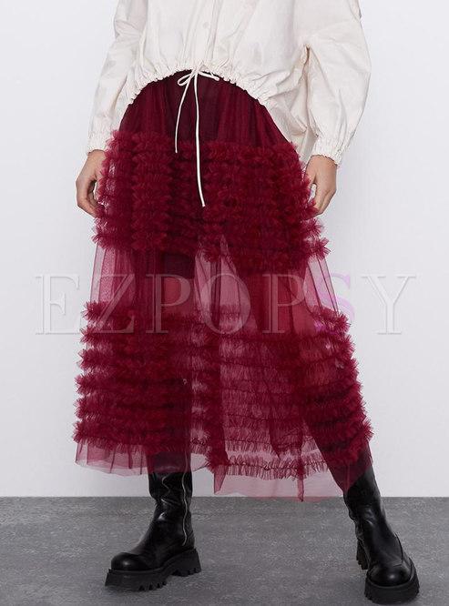 High Waisted Big Hem Mesh Long Skirt