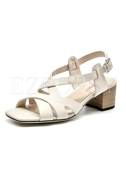 White Square Neck Buckle Chunky Heel Sandals