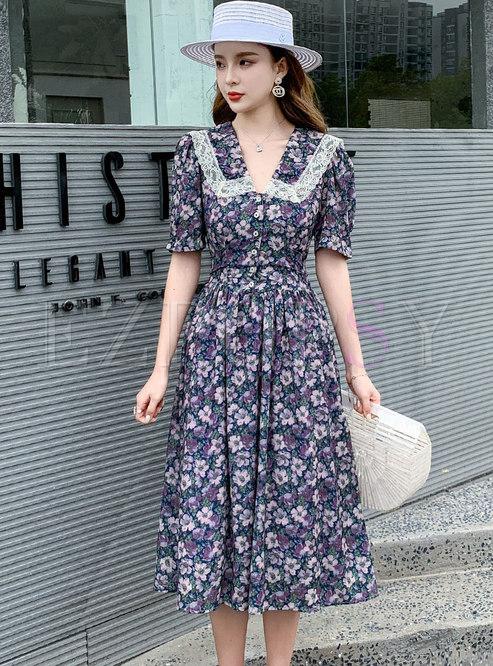 V-neck Floral High Waisted A Line Dress