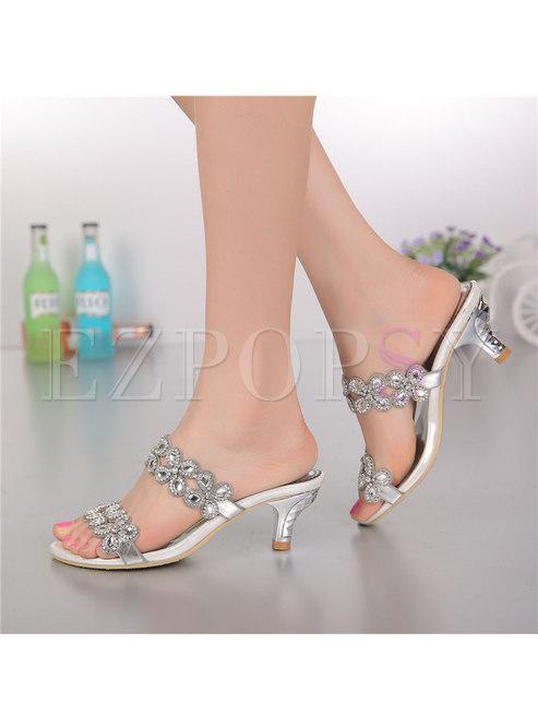 Pointed Toe Diamond Low Heel Slippers
