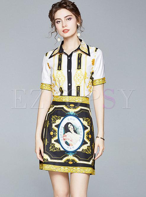 Print Lapel Slim Blouse & High Waisted Mini Skirt