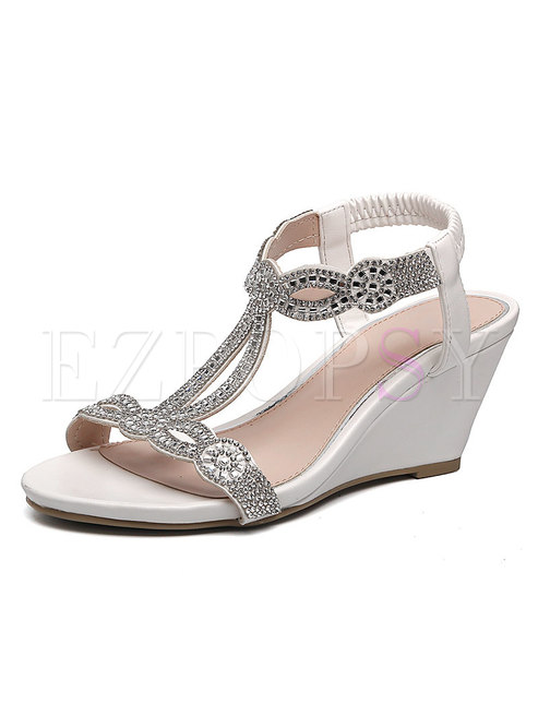White Diamond Round Toe Wedge Sandals