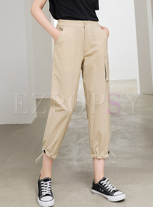 Solid Color High Waisted Drawcord Harem Pants