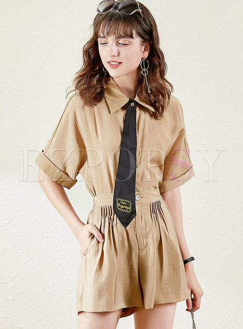 Lapel Short Sleeve High Waisted Wide Leg Pant Suits