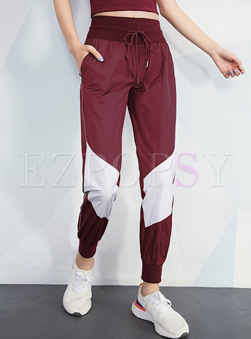 Color-blocked High Waisted Sports Pants