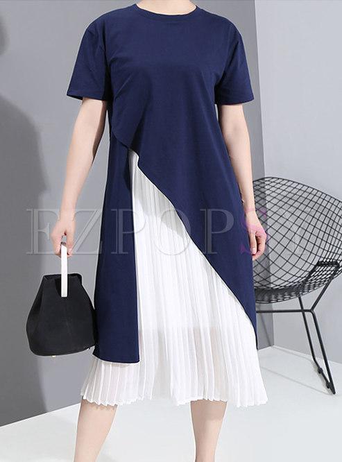 Crew Neck Pullover Asymmetric Top & Pleated Sun Dress
