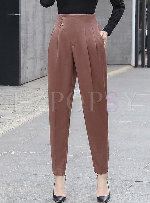 Solid Color High Waisted Satin Harem Pants