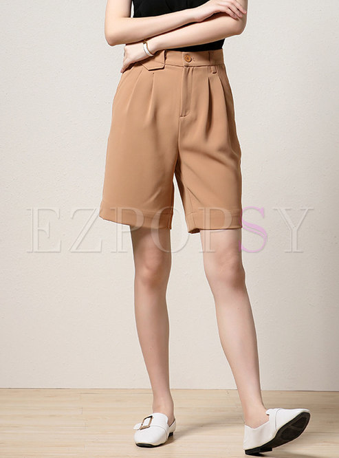 High Waisted Plus Size Wide Leg Shorts