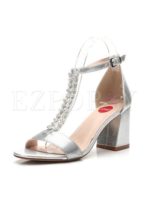 Sliver Round Toe Rhinestone Chunky Heel Sandals