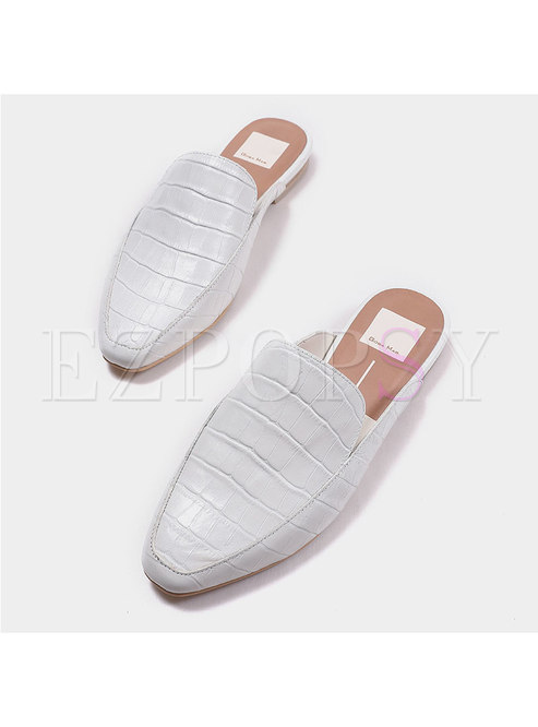 Solid Color Brief Round Toe Flat Slippers