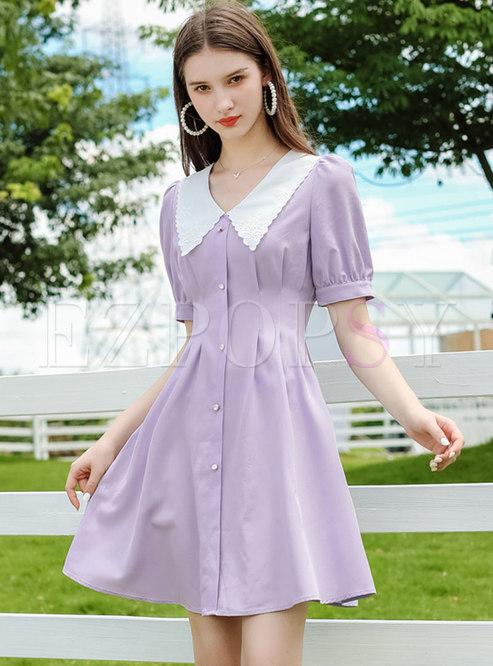 Color-blocked Lapel High Waisted Skater Dress