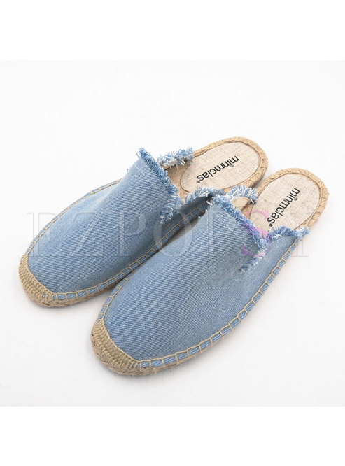 Round Toe Flat Fringed Espadrille Slippers