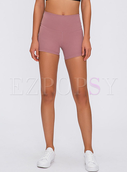 Pure Color High Waisted Tight Sports Shorts