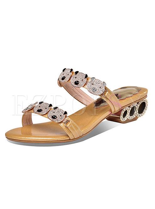 Round Toe Rhinestone Low Chunky Heel Slippers