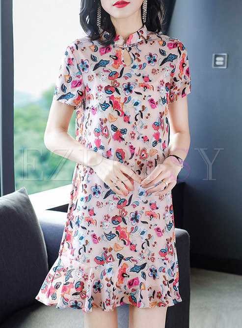 Mandarin Collar Openwork Floral Ruffle Dress